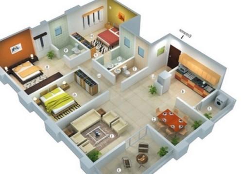 Denah Rumah Minimalis 1 Lantai 3 Kamar Tidur 14 - 18 Gambar Denah Rumah Minimalis 1 Lantai 3 Kamar Tidur Terbaik