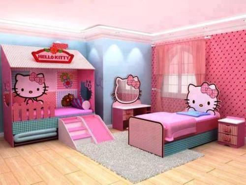 Desain Kamar Tidur Anak Perempuan Hello Kitty 1 - 22 Desain Kamar Tidur Anak Perempuan Frozen, Hello Kitty, Barbie