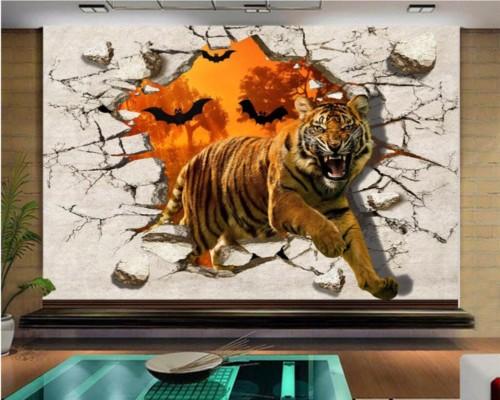 Contoh Lukisan Harimau 3D di Dinding