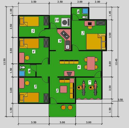 Denah Rumah Mewah 1 Lantai 4 Kamar Tidur Minimalis 11 - 15 Denah Rumah Mewah 1 Lantai 4 Kamar Tidur Minimalis 2018