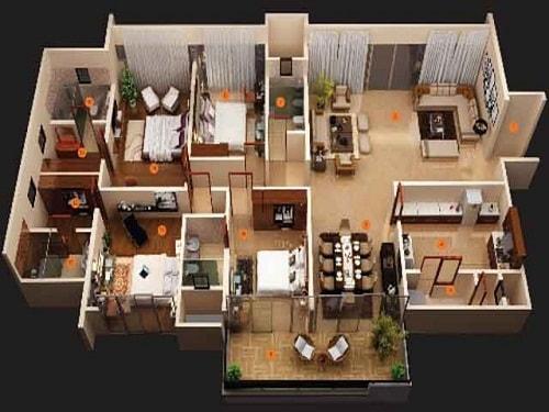 Denah Rumah Mewah 1 Lantai 4 Kamar Tidur Minimalis 5