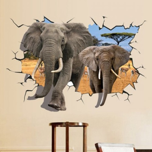 Lukisan Dinding 3D Gajah - 20 Gambar Lukisan Dinding Ruangan 3D Pemandangan Alam dan Hewan