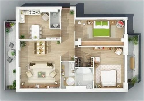 Denah Rumah 3D Ukuran 7x9 Meter - 10 Bentuk Denah Rumah Minimalis Sederhana Ukuran 7x9 Meter
