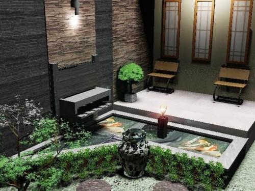 Kolam Ikan Kecil di Teras Depan Rumah 10 - 30 Desain Kolam Ikan Minimalis Kecil di Halaman Rumah