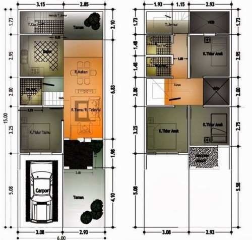 Sketsa Denah Rumah 2 Lantai Ukuran 6x9 6 - 11 Model Denah Rumah 2 Lantai Ukuran 6x12 Meter Terbaru 2018