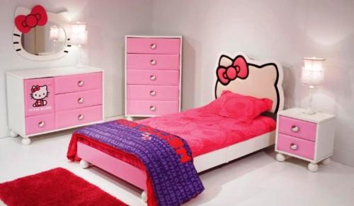 Desain Gambar Kamar Tidur Hello Kitty Anak Perempuan