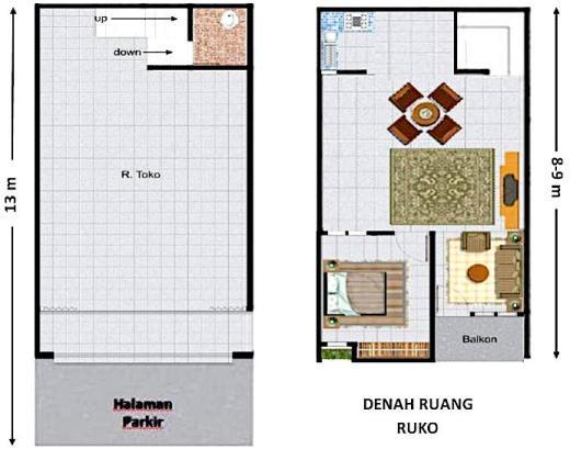 denah rumah toko 2 lantai - Tips Desain Rumah dan Toko dalam Satu Bangunan 2019