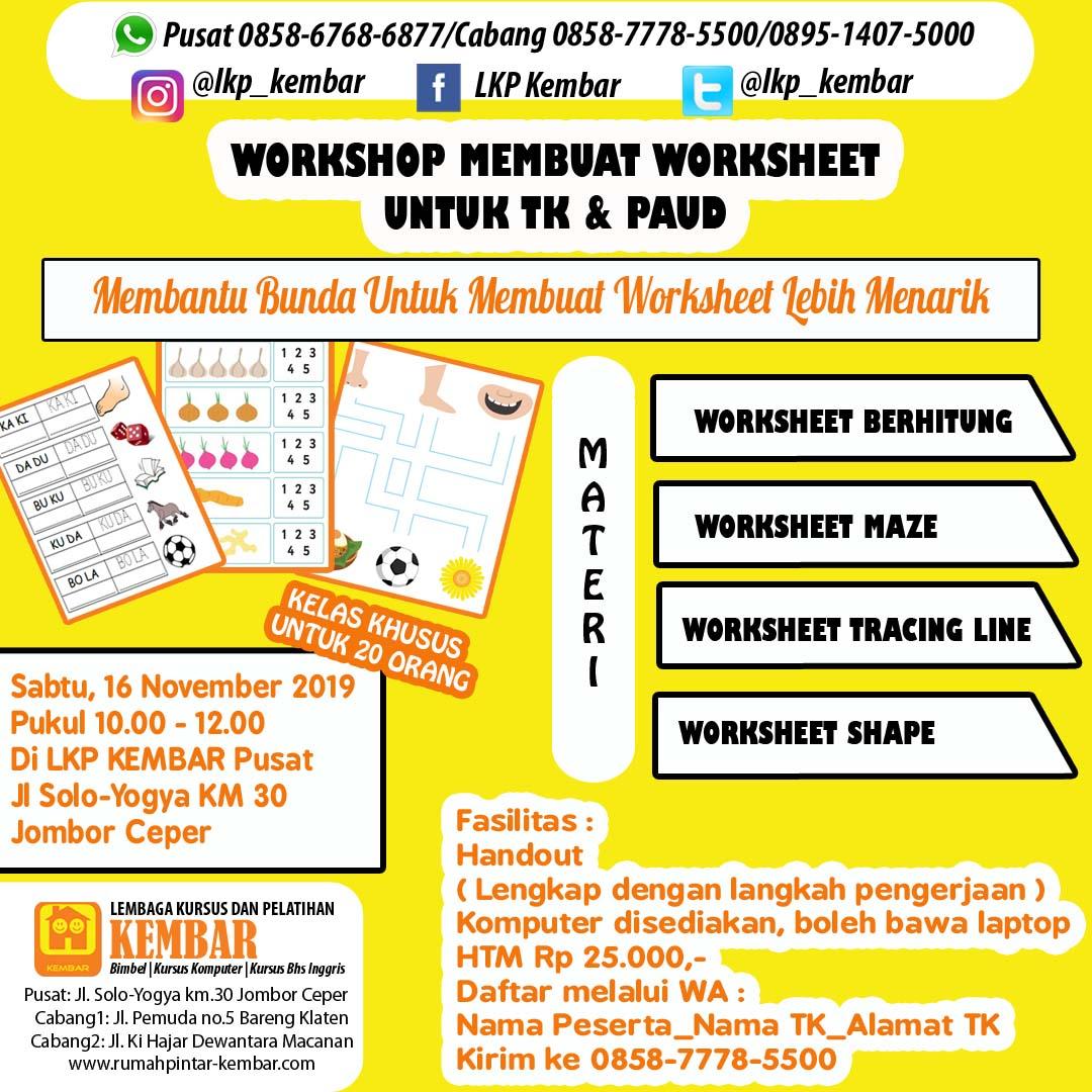 Workshop Membuat Worksheet Untuk Tk Amp Paud