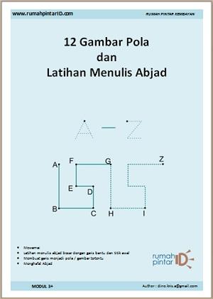 Menulis Huruf Abjad A Z dan latihan dengan 12 Gambar pola