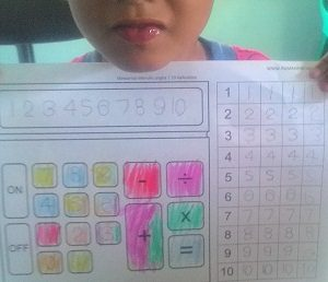 Mewarnai Gambar Kalkulator Dan Latihan Menulis Angka 1 10 Rumah Pintar