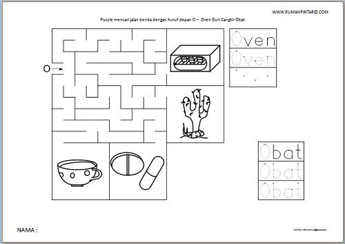 Puzzle Maze huruf depan O untuk anak Oven Duri Cangkir Obat