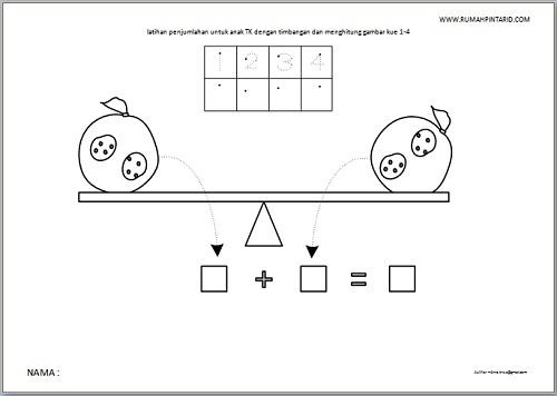 latihan penjumlahan untuk anak TK dengan timbangan dan menghitung gambar kue 1-4