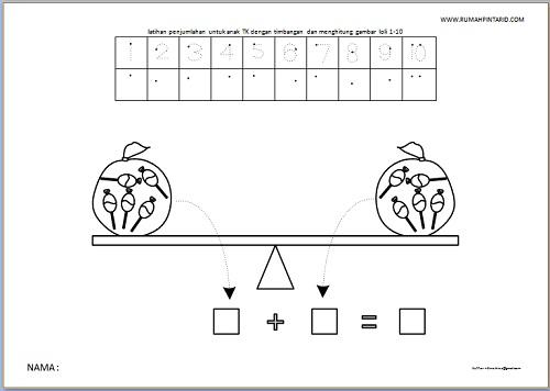 latihan penjumlahan untuk anak TK dengan timbangan dan menghitung gambar loli 1-10