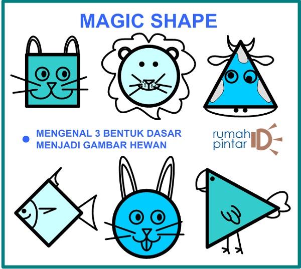 Latihan menggambar bentuk dasar menjadi gambar hewan untuk anak