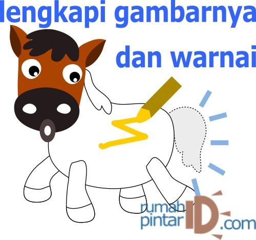 Mewarnai dan menulis binatang ternak