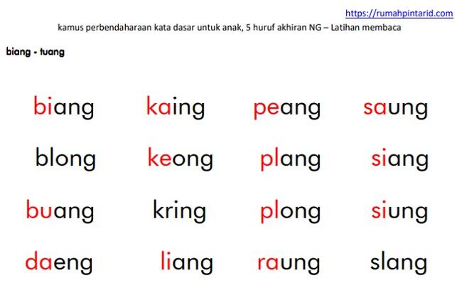 poster kamus kata dasar 5 huruf akhiran NG