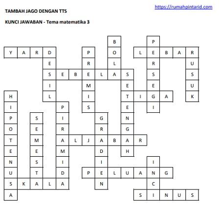 kunci jawaban soal soal latihan TTS tema matematika