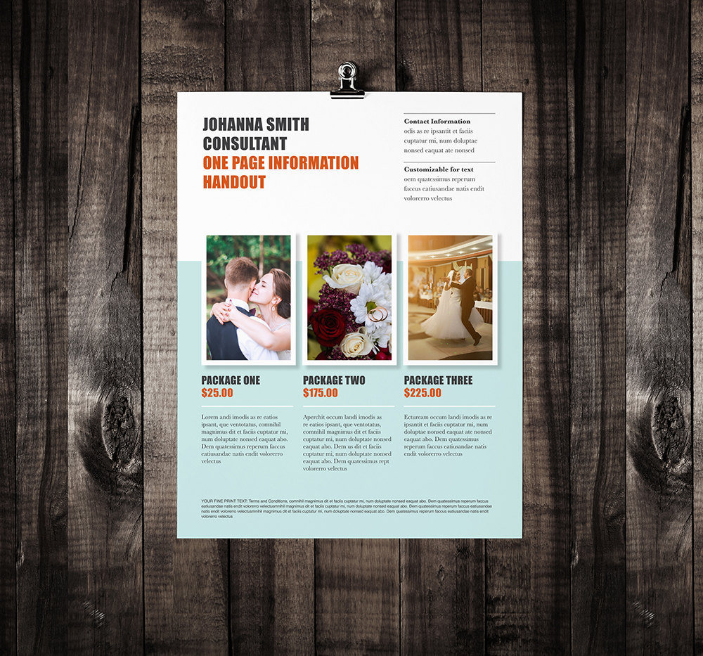 Single page brochure template rumble design store for Two page brochure template