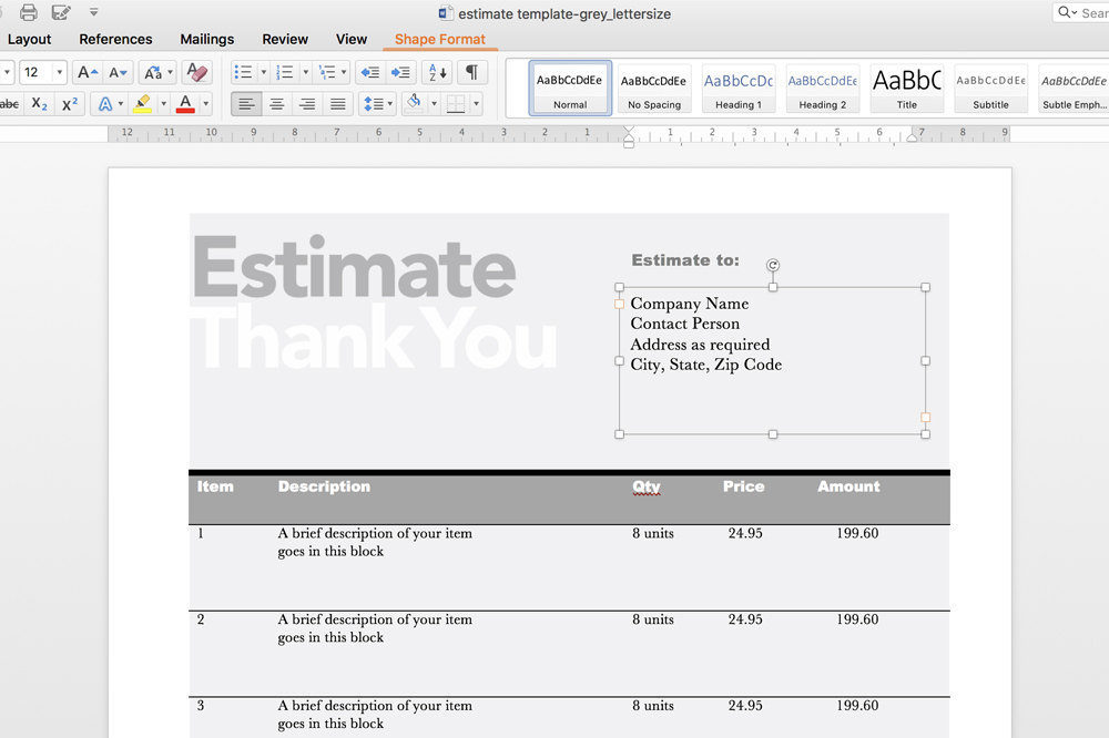 Editable Invoice Estimate Template – Estimate Invoice Template