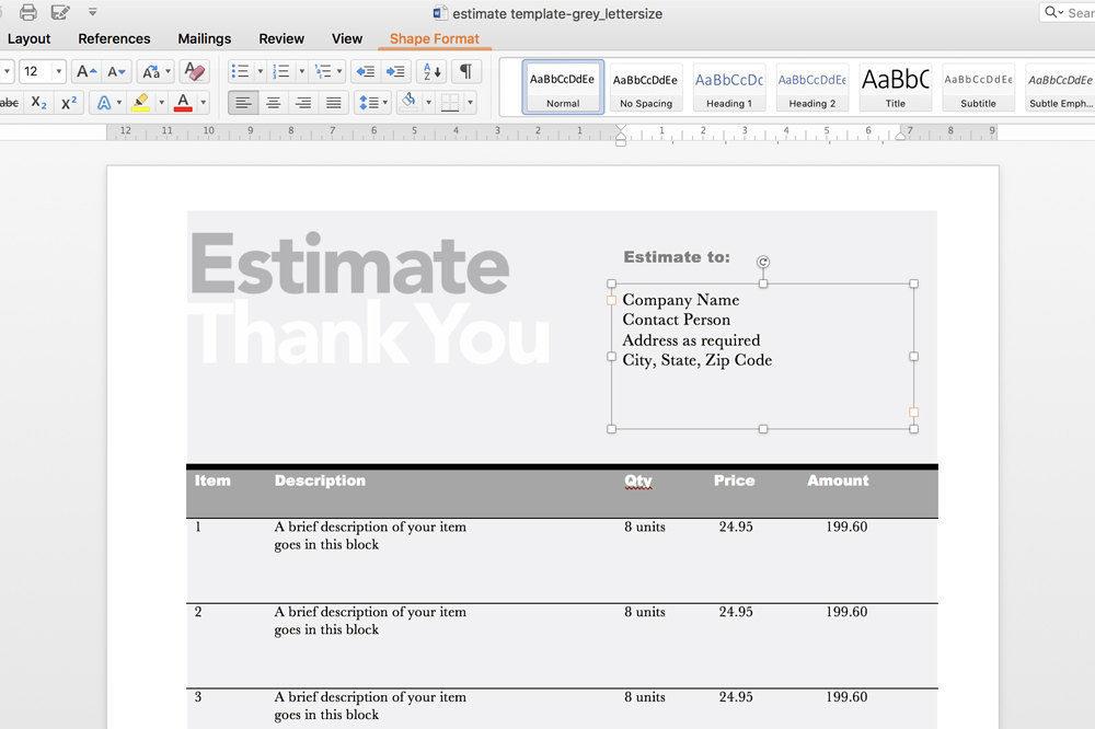 Printable Invoice Estimate Template, Editable Template, Invoice Template  Invoice Template Editable