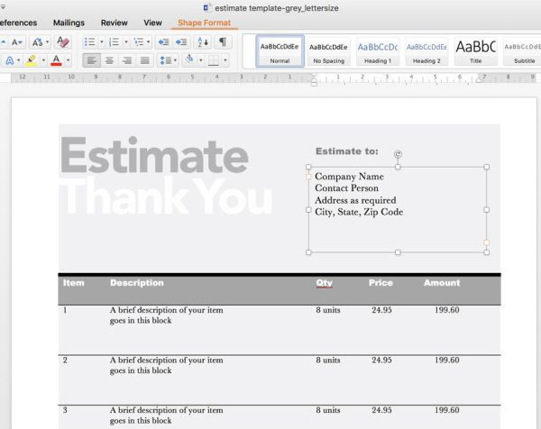 Editable Invoice  Estimate Template  Rumble Design Store