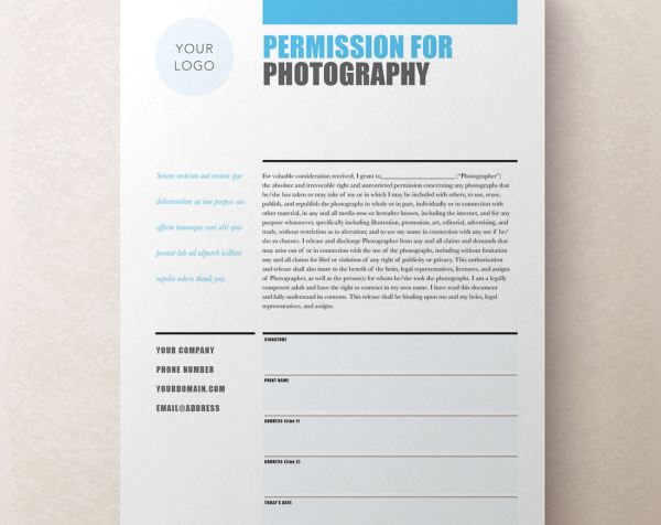 Editable Photography Contract / Release Form | Rumble Design Store
