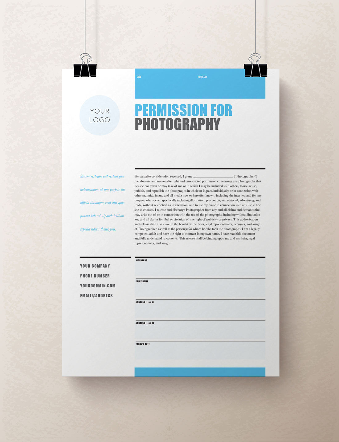 Printable Photography Contract, Model Release, Permission Form