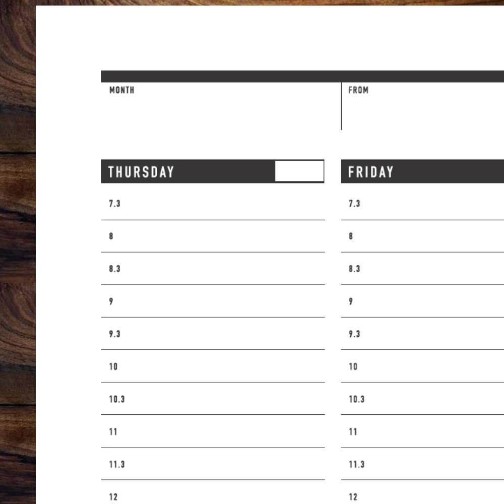 printable weekly planner template   rumble design store