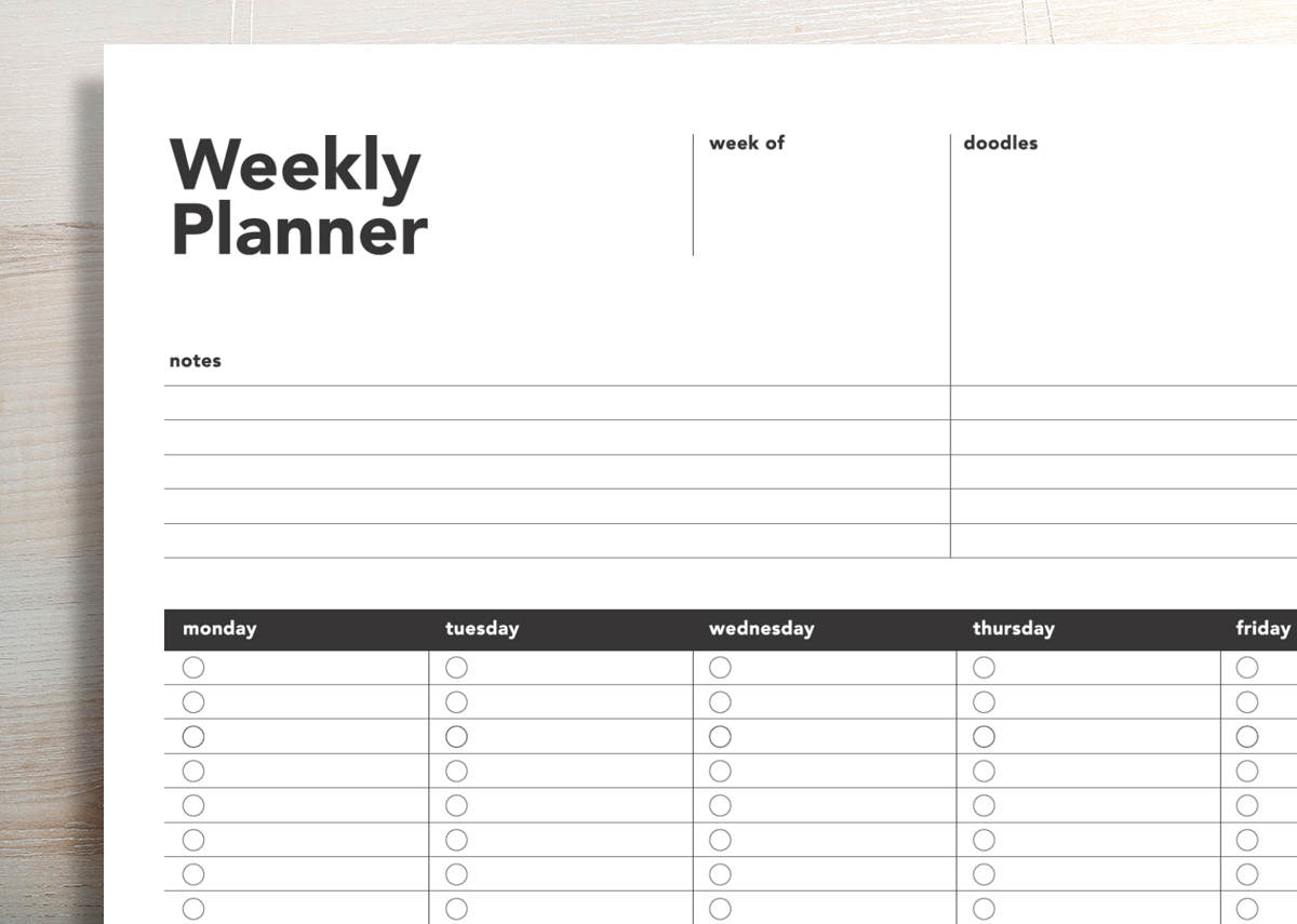 One page weekly planner to do list rumble design store for Remodeling planner free online