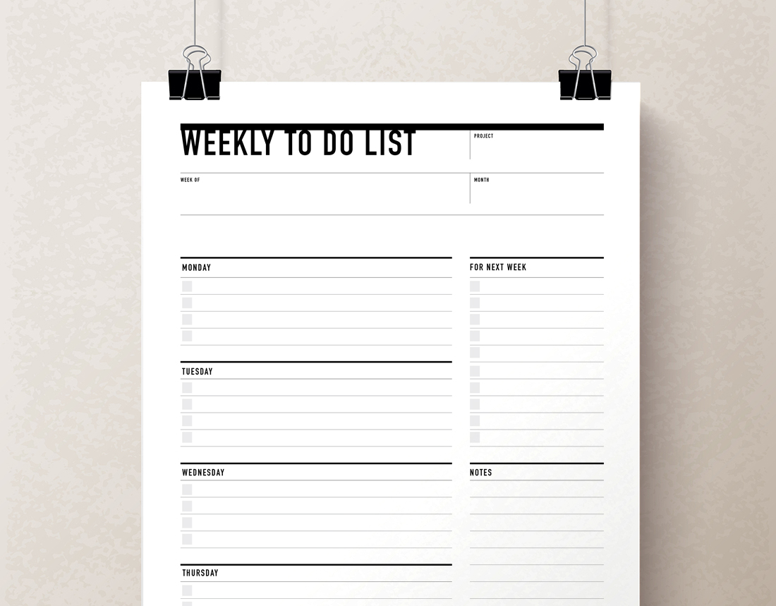 graphic relating to Weekly Planner Printable identified as Printable Weekly In the direction of Do Listing Planner