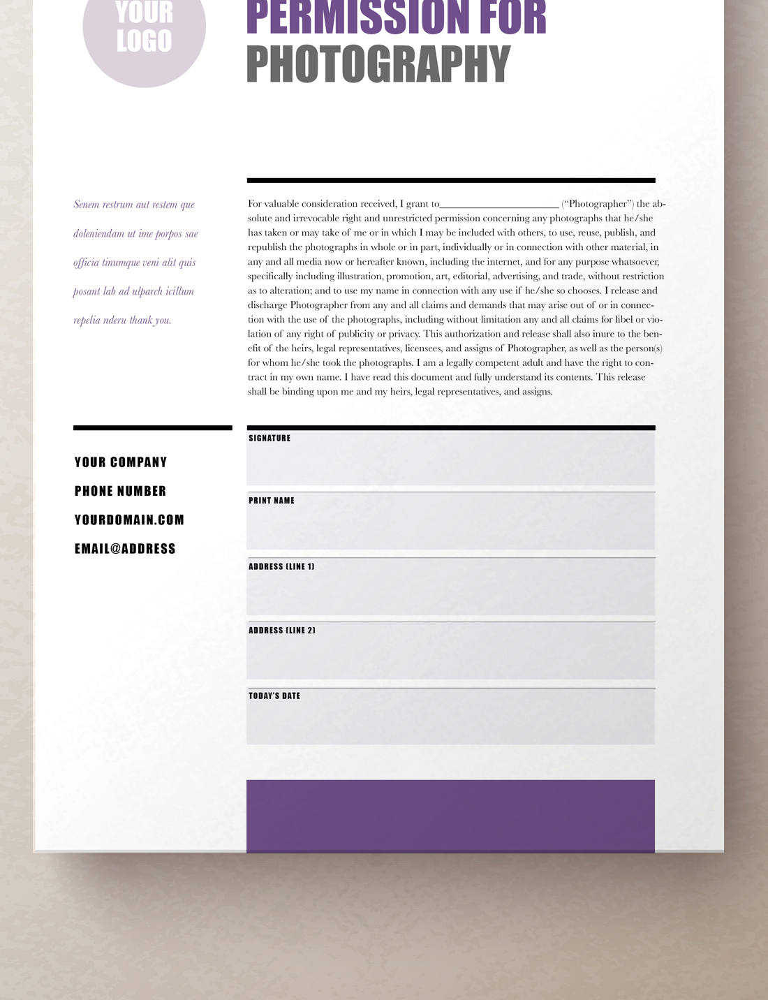 Model Release Form, Photography Contract | Rumble Design Store