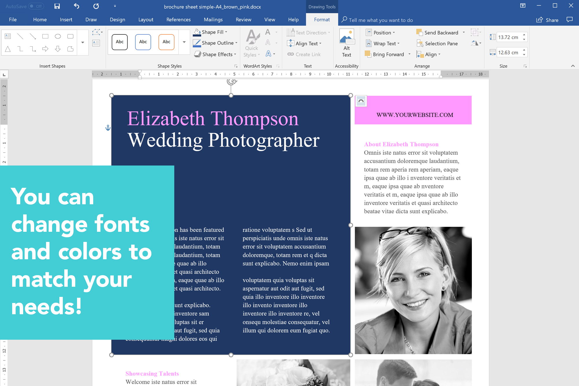 printable brochure brochure template template design ms word photographer marketing kit