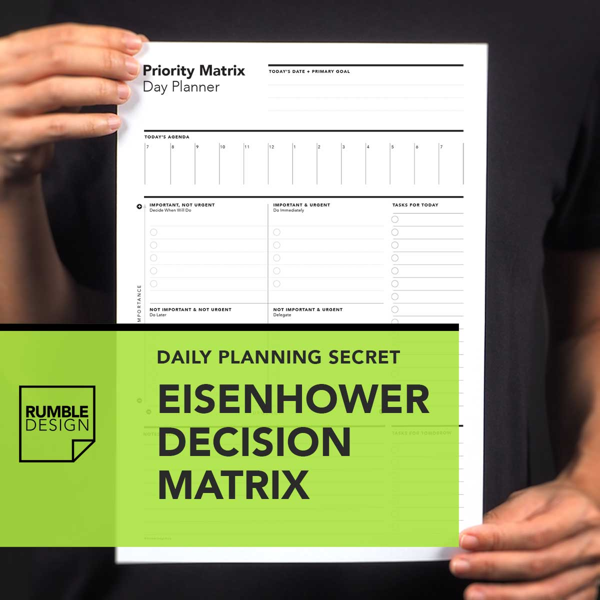 Eisenhower Decision Matrix With Daily Task Planning