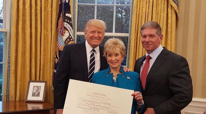 Vince McMahon and Head Of Donald Trump's SBA Linda McMahon