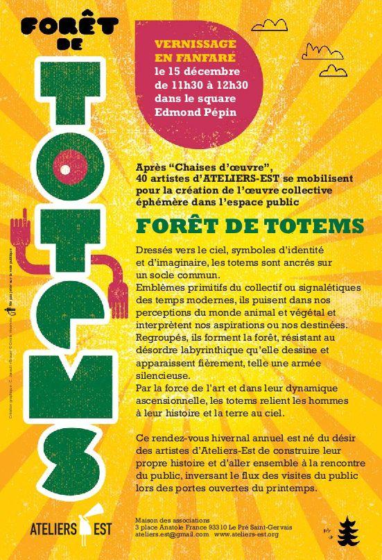 """affiche de l'exposition """"forêt de totems"""" verso"""