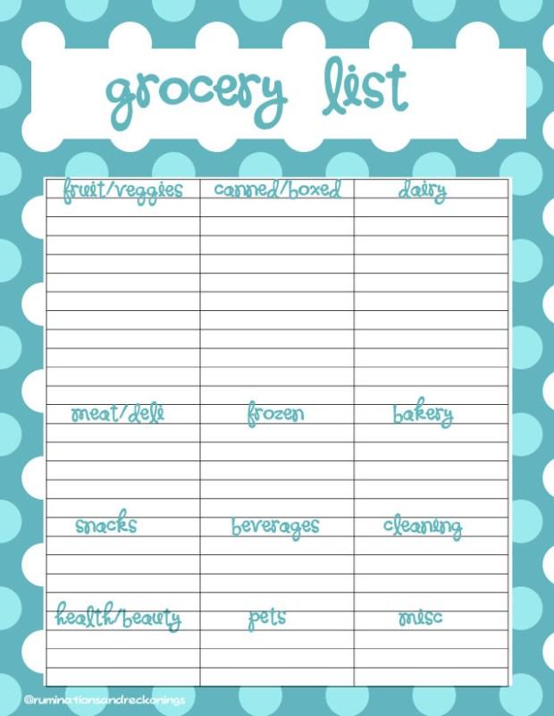 seafoam dots grocery list