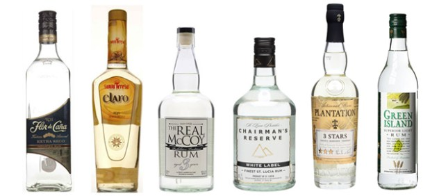 From left to right - Flor de Cana 4 yrs old, Santa Teresa Claro, The Real McCoy 3 yrs old, Chairman's reserve White Label, Plantation 3 Stars & Green Island