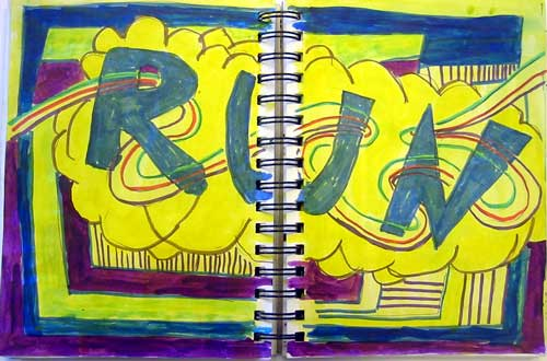 Drawing of the word Run