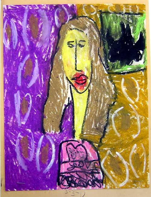 Modigliani Style Self-Portrait