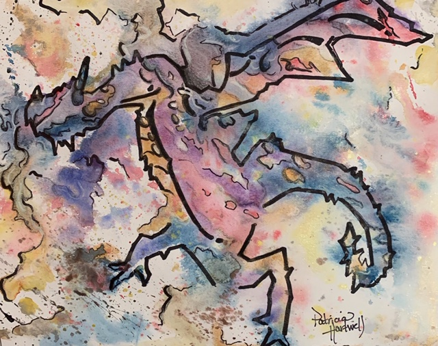 Watercolor painting of a dragon
