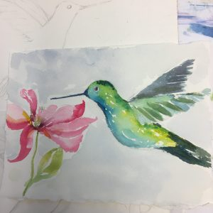 Watercolor Hummingbird with MaryLeah