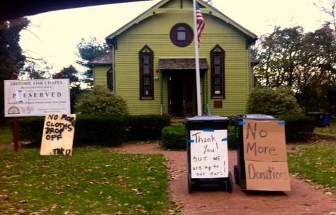 Clothing drive at Bicentennial Hall in Hurricane Sandy's aftermath. Photo/Elaine Van Develde