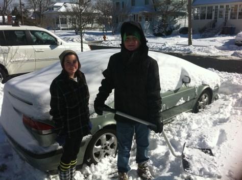 RFH teens get to work clearing sidewalks and driveways of snow in 2012. Photo/Elaine Van Develde