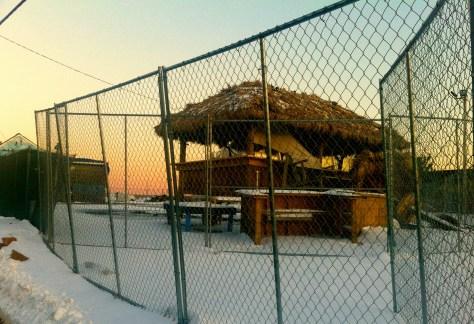 A snow-capped Donovan's Reef Tiki Bar the winter after Hurricane Sandy Photo/Elaine Van Develde