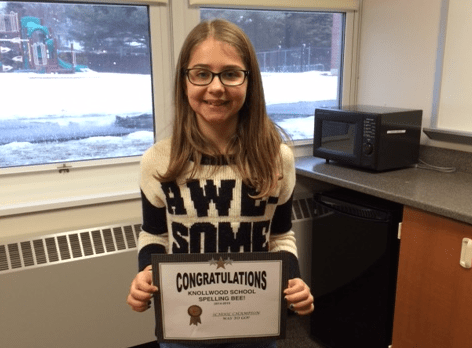 Knollwood Fifth Grader a Spelling Champ