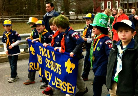 Rumson Cub Scouts Pack 11 marches in the first Rumson St. Patrick's Day Parade. Photo/Elaine Van Develde