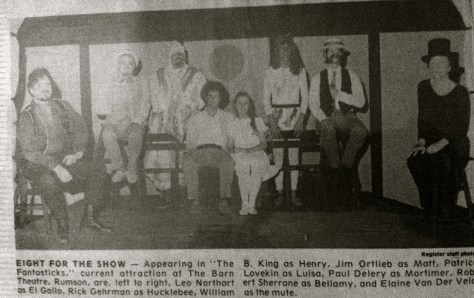 """Clip of press photo for The Barn Theater's production of """"The Fantasticks"""" in the summer of 1977"""