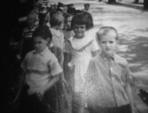Fair Haven Kindergarten class in 1965 walking on the rope to the Youth Center Photo/courtesy of Diane Smith Carmona