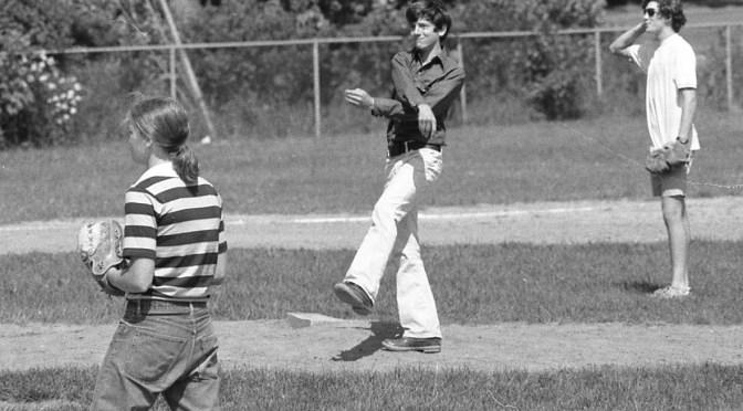Retro RFH Girl Playing the Boys' Baseball Field