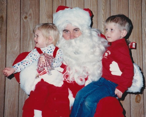 Mary Ellen and Tim Kelly with Santa at the Fair Haven Firehouse circa 1987. Photo/Evie Connor Kelly
